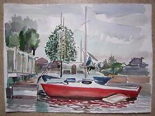 aquarelle de Guy Fantou voilier rouge au port bateau