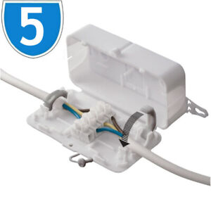 5x 24A Mains 240V Electrical Inline Connector Junction Box Wire Terminal 3 Pole