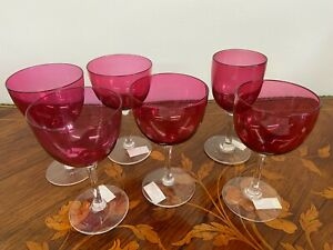 Six Vintage Various Ruby Cranberry Wine Glasses