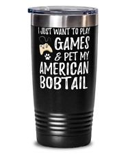 American Bobtail Gamer 20oz Tumbler Travel Mug for Funny Cat Mom Gift Idea