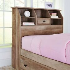 Twin Bookcase Headboard With Storage Weathered Rustic Shelves Drawer