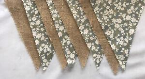 Vintage floral & Hessian Shabby Chic Fabric Wedding Bunting decoration 4 mt plus