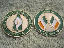 "Ireland Centenary 1916- 2016 ""Easter Lily"" & Saoirse ""I Am Of Ireland"" 2Pc Badge"
