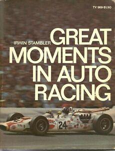 1969 1st Printing Great Moments in Auto Racing Stambler Daytona Indy 500 LaMans