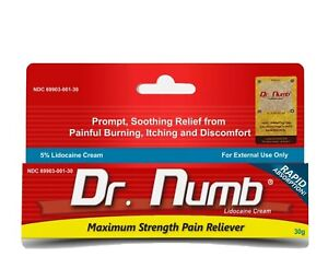 Dr Numb 5% Cream Skin Numbing for Body Ink, Waxing Piercing (30gm)