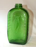 Vintage1930s Owens-Illinois Green Glass Water Bottle Embossed Penguin on Ice