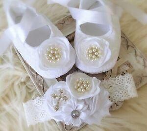 Baby Girl White Christening Baptism Shoes Cross Satin Flower Pearls Headband Set