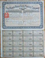 1898 Stock Certificate: 'Monte Rosa Gold Mining Company, Ltd.' - London - Yellow