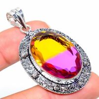 "Bi-Color Tourmaline Gemstone Handmade 925 Silver Jewelry Pendant 2.25"" AL-21460"
