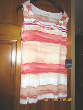 ST.JOHN'S BAY sleeveless striped top in orange and white ,size L for women ( NEW