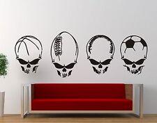 Wall Sticker Decal Vinyl Skull Soccer Ball Sport Rock Motorcycle Death Skeleton