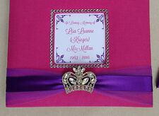 Custom Funeral Guest Book- crown princess queen memorial service sign pink