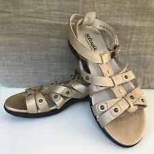 New Softwalk Women's Gold Pebbled Leather Gladiator Comfort Sandals Sz 6.5M