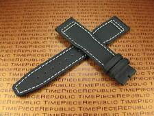 21mm IWC Black Leather Strap TOILE Fabric Watch Band PILOT Portuguese II White