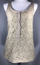 J.CREW Women's Olive Floral Embroidered Underlay Half Sleeveless BLOUSE ~ Sz XS