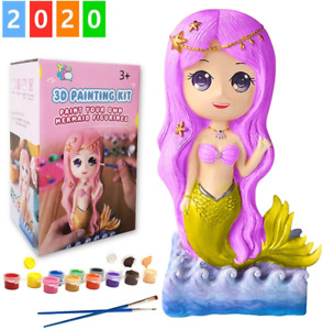 Yileqi Paint Your Own Mermaid Painting Kit, 2020 Upgraded Mermaid Craft Kit for