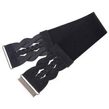 Brown Women Stretch Buckle Braided Waist Belt Wide PU Leather Elastic Waistband