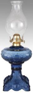 """Hand Blown Stained Glass """"PRINCESS FEATHER"""" KEROSENE OIL LAMP Victorian blue"""