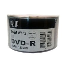 50 Arita DVD-R 8X Ink Jet White Face Printable Discs 120Min 4.7GB GO5 Disc