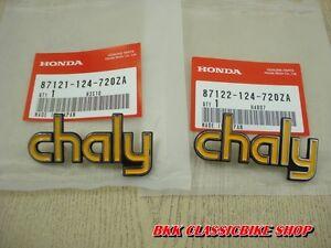 NOS HONDA CHALY CF50 CF70 Emblems Frame L/R PN 87121-124-720ZA , 87122-124-720ZA