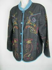 Denim & Co. Women's  Jacket, size LG , Black  Paisley NWOT Lined