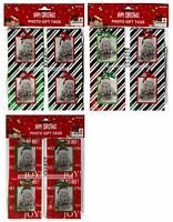 MB* 8pc Set PHOTO GIFT TAGS w/String HOLIDAY/CHRISTMAS Red+Green *YOU CHOOSE*