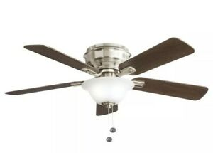Hampton Bay Hawkins 44 in. LED Brushed Nickel Ceiling Fan with Light