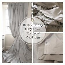 MADE TO MEASURE Service GREY Linen BLACKOUT Thermal PINCH PLEAT Pom Pom CURTAINS
