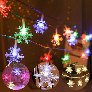 3M/6M Waterproof Snowflake LED String Flashing Light Outdoor Christmas Xmas Lamp