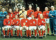Squad Signed 1966 ENGLAND World Cup Squad 16x12 Autograph Photo AFTAL COA
