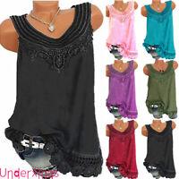 ❤️Plus Size Women Sleeveless Lace Vest Tunic Top Blouse Summer Tank Tops T-Shirt
