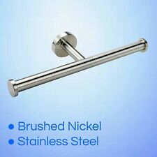 Brushed Nickel Double Toilet Roll Paper Holder Bracket Wall Tissue Rack 2 Bars