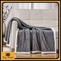 Large Luxury Sherpa Fleece Blanket Throw Popcorn Waffle Faux Fur Warm Sofa Bed