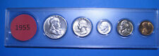 1955 US Coin Year Set 5 Coins 90% Silver BETTER GRADE