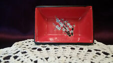 Lovely Wasabi Dish byVisun Charcoal Exterior Red Interior w/ Dogwood Design