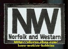 LMH PATCH Badge  NORFOLK & WESTERN Railway  N&W NW  Black on White Original Logo