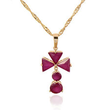 18K Gold Plated Multicolor crystal Triangle Flower Pendant  Long Chain Necklace