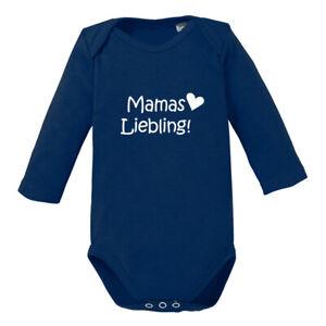 """Baby Body Langarm bedruckt Spruch """"Mamas Liebling"""" 100% Biobaumwolle"""