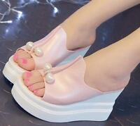 Fashion Women High Heel Sandals Pearls Slippers Wedge Open Toe Platform Shoes