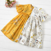 Toddler Baby Kid Girl Ruched Floral Flower Skirt Princess Dresses Casual Clothes