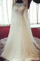Women's White/Ivory Lace A-Line Square Neck Wedding Dresses Bridal Gowns Custom