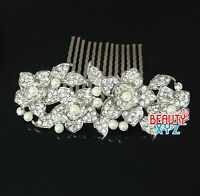 beautiful elegant wedding bridal hair comb Ivory Color pearl and crystal #1121