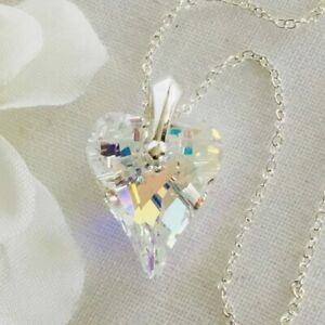 925 Silver Made With Swarovski® Crystals Wild Heart Necklace Pendant AB Gift