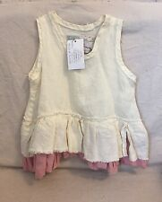 TINA GIVENS Girl's HANDMADE Cream LINEN DRESS/TUNIC WITH Pink ACCENTS