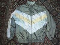 vintage 80s Nylon Jacke oldschool Sportjacke silver grey shiny glanz jacket L