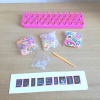 Loom Band Kit 3 Bags x Multi Colours Mixed Colour Bands Board S Clasps 1 Hook