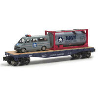 O GAUGE US NAVY MILTARY FLATCAR WITH US NAVY FUEL CONTAINER & VAN LIONEL MENARDS