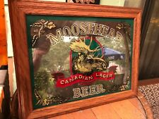 """Vintage New"" Moosehead Canadian Lager Beer Mirror Sign Wood Frame 19 x 15"