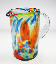 Mexican Glass Pitcher, hand blown, confetti swirl, straight, free shipping