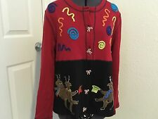 Ugly Christmas Party Sweater Cardigan Onque Dancing Reindeers size MEDIUM